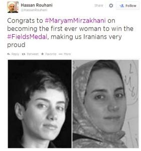 Íránský prezident pogratuloval úspěšné matematičce – a sundal jí přitom tradiční hidžáb. Repro: Twitter.com