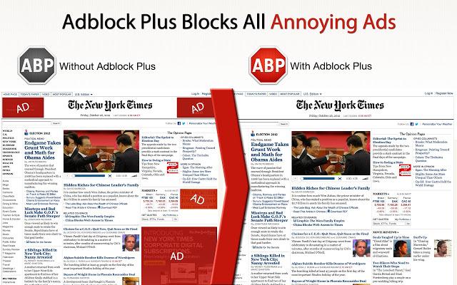 Vlevo webová stránka s nezablokovanou reklamou, vlevo bez ní. Foto: Slashgear