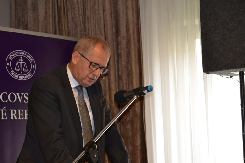 Předseda NSS Josef Baxa při projevu na sněmu Soudcovské unie Foto: Eva Paseková