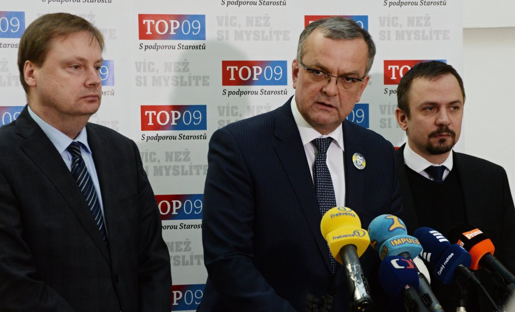 Martin Plíšek, Miroslav Kalousek a Marek Ženíšek z TOP 09 Foto: top09.cz